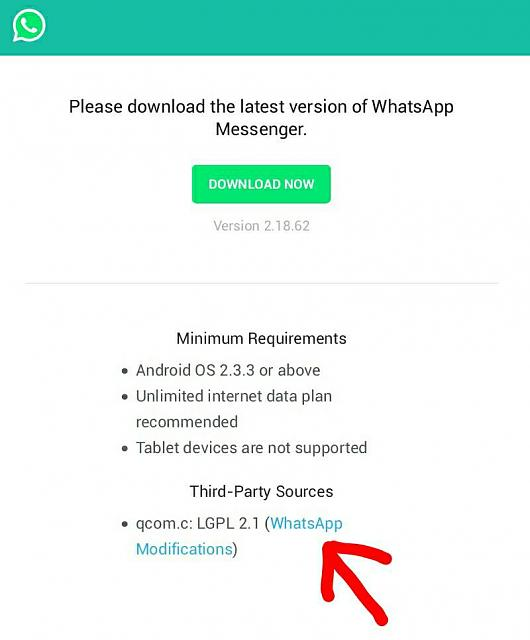 WhatsApp patch on whatsapp com/android/ for BB10