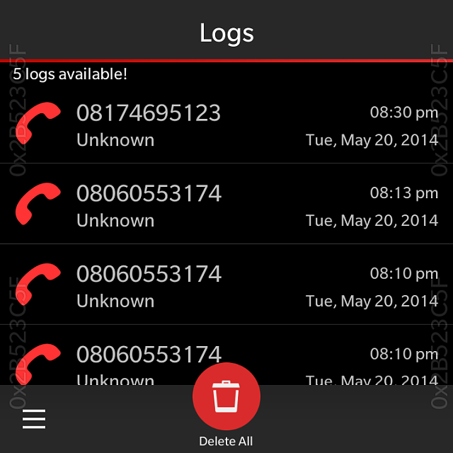 how to block a number call log