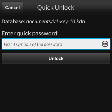 KeePassB 2 - Native KeePass implementation for BlackBerry 10-09-quick-unlock.png