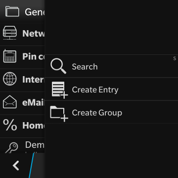 KeePassB 2 - Native KeePass implementation for BlackBerry 10-creation-menu.png