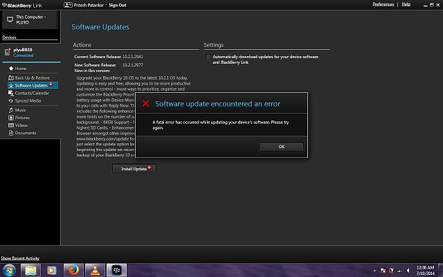 Updating blackberry software version