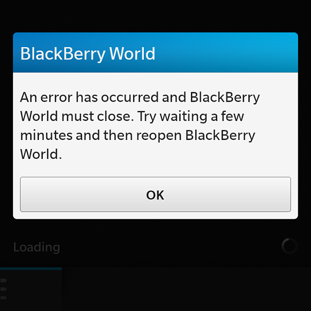Blackberry world, An errorr has occurred and blackberry world must close. Try waiting a few minutes -img_20140803_090638.png