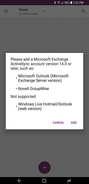 Priv, how to get notes to sync with **@outlook com like