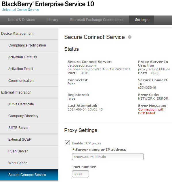 """Connection status failed"" for APN Certificate-secureconnectservicefailure.png"