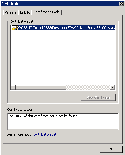 """Connection status failed"" for APN Certificate-certificate.png"