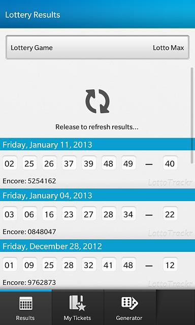 LottoTrackr - New App for BlackBerry 10 - Beta testers needed!-pulltorefresh.jpg