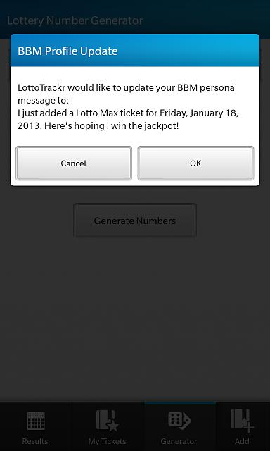 LottoTrackr - New App for BlackBerry 10 - Beta testers needed!-bbmstatusupdate.jpg