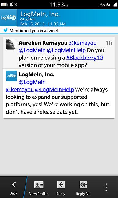 Request for a BB10 /Playbook LogMeIn app - BlackBerry Forums