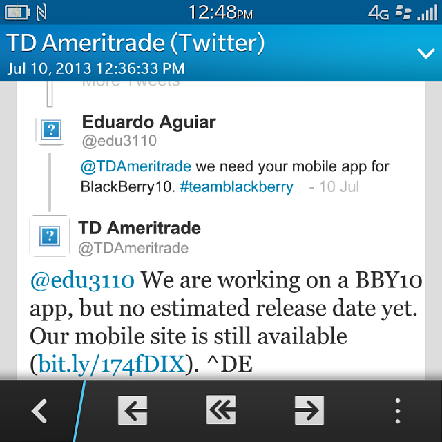 TD Ameritrade Confirms BB10 App - BlackBerry Forums at CrackBerry com