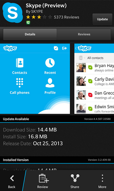 Skype app updated? Check BB World - BlackBerry Forums at