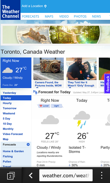 Weather Channel different on Web vs App - BlackBerry Forums