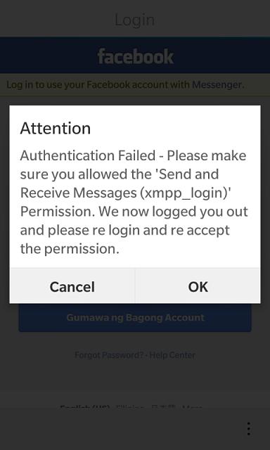Facebook Messenger Login Error Facebook Messenger Login
