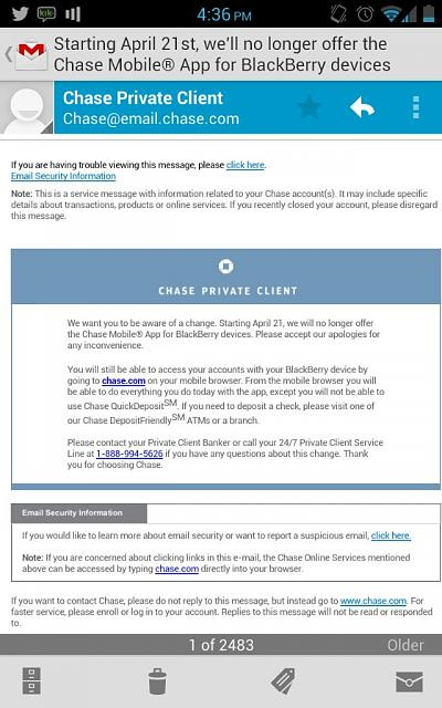 Chase no longer available for BlackBerry devices - BlackBerry Forums