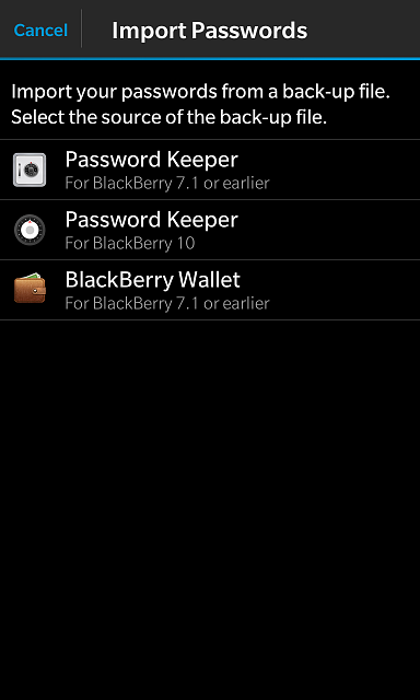 HOW TO: Importing passwords from another application into Blackberry Password Keeper-import_options.png