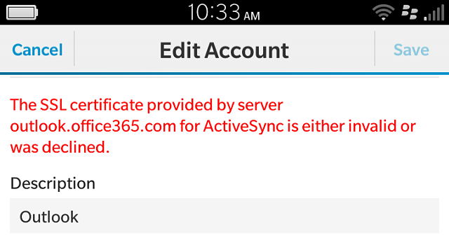 Microsoft based email accounts invalid ssl certificate error ...