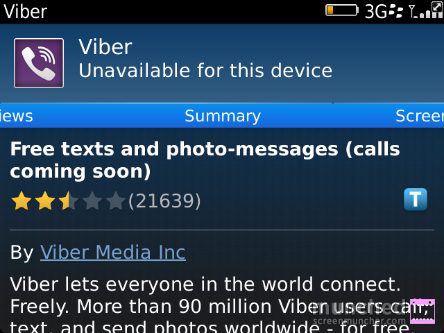 Viber is not available for my device according to BB World-munch_2013_01_01_183659.png