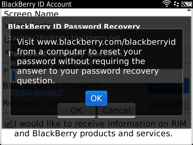 I'm using a BlackBerry Bold 9900 & I don't remember my ID