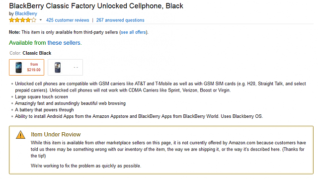 Amazon suspends sale of Classic-capture.png