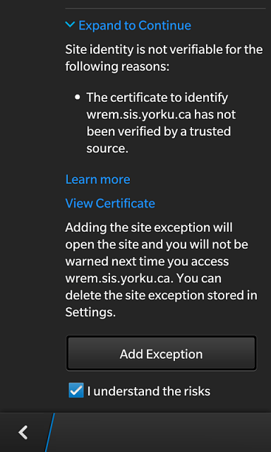 How can I add a site exception on my BlackBerry Classic?  (It is now blocking wikipedia!)-163955d1369186175t-bb10-browser-doesnt-recognize-particular-certificate-img_00000010.png