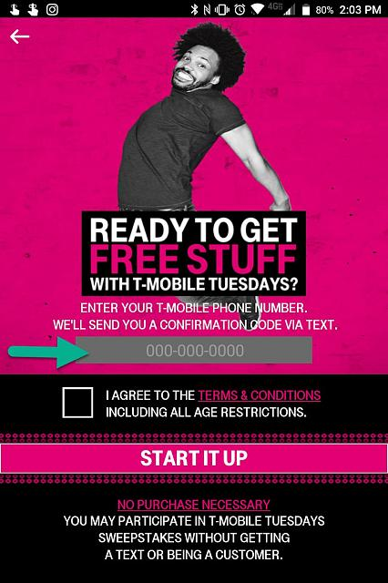 T-Mobile Tuesday app - cannot type in my number - BlackBerry