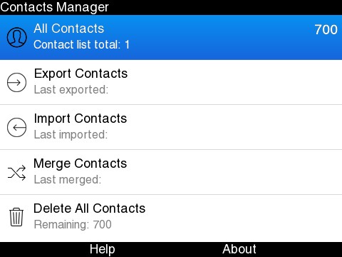 Contacts Manager - Manage contacts on BlackBerry smartphone