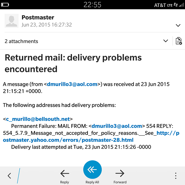 Permanent failure when sending to an @bellsouth.net account using my BB10 device from an AOL account-img_20150624_225557.png