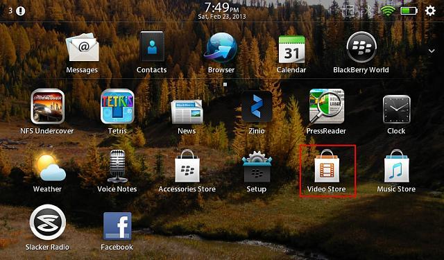 blackberry playbook movie app