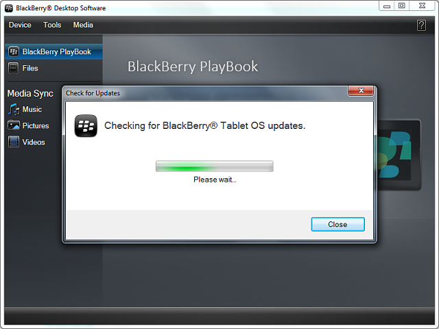 Error when updating Playbook OS version via Blackberry Desktop