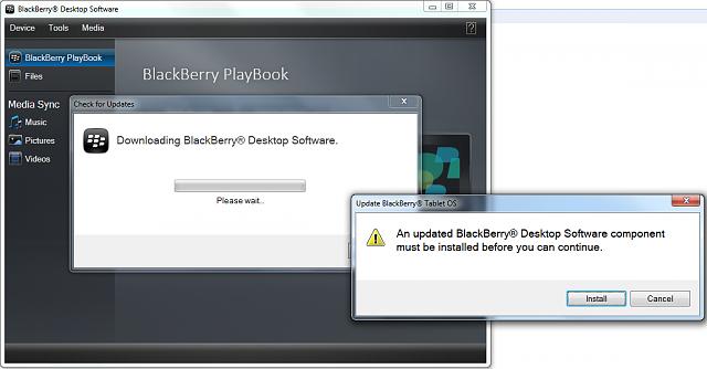 Error when updating Playbook OS version via Blackberry