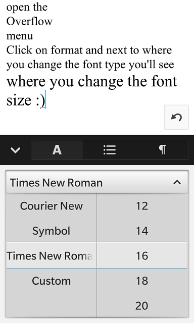 how to change the default font and size in docs