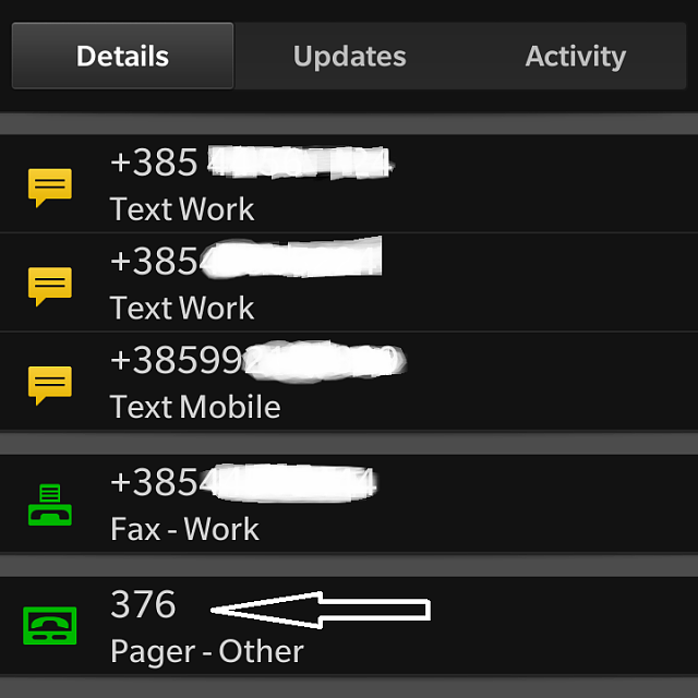 Recognizing 'Pager' number for caller ID and contact number
