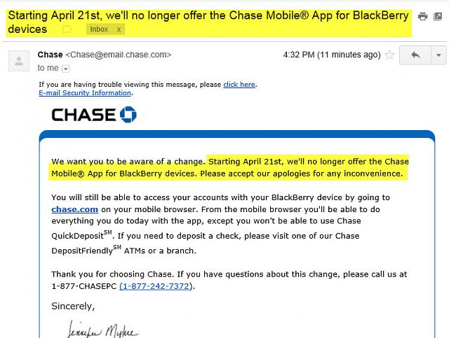 Chase Bank no longer offers app for BlackBerry - BlackBerry Forums