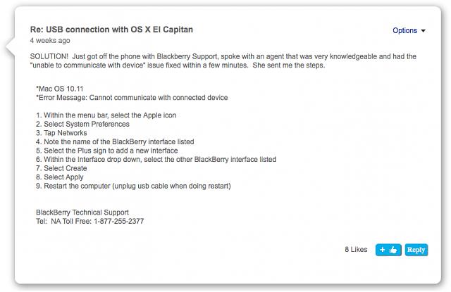 BlackBerry link doesnt work properly in OSX El Capitan