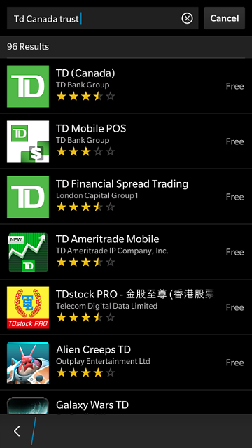 TD Canada Trust Android App - using tap and pay - BlackBerry
