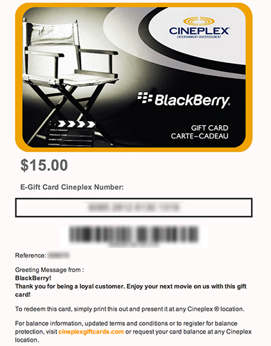 Cineplex e gift card blackberry forums at crackberry cineplex e gift card blackberrycineplexg negle Image collections