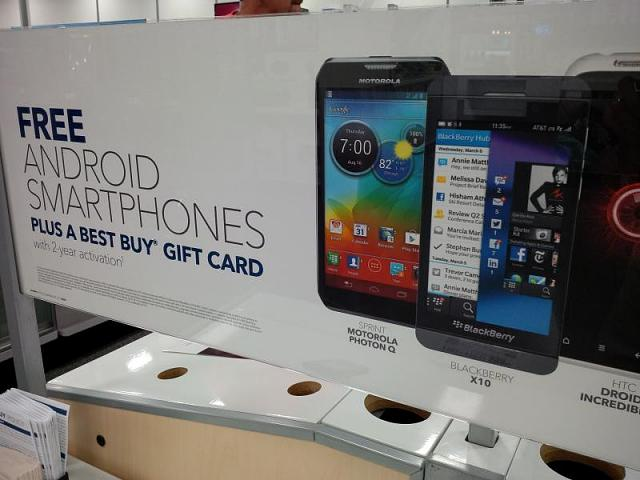 Best Buy sign: Free Android BlackBerry X10-img_00000626.jpg