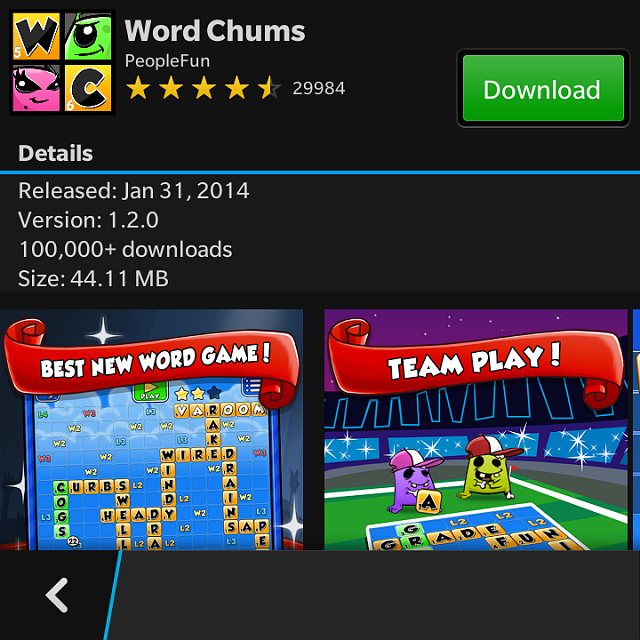 Word Chums Missing from Amazon App Store - BlackBerry Forums