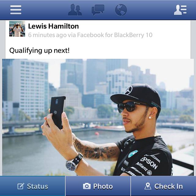 Hamilton posts from his Passport on Facebook - BlackBerry
