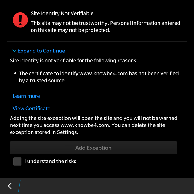 How do I create an exception for a website BB deems to have