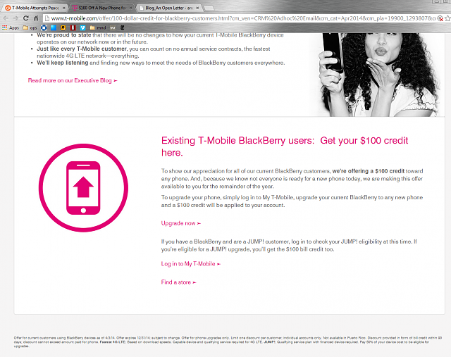 T-Mobile Attempts Peace with its BlackBerry Users?-100bucks.png
