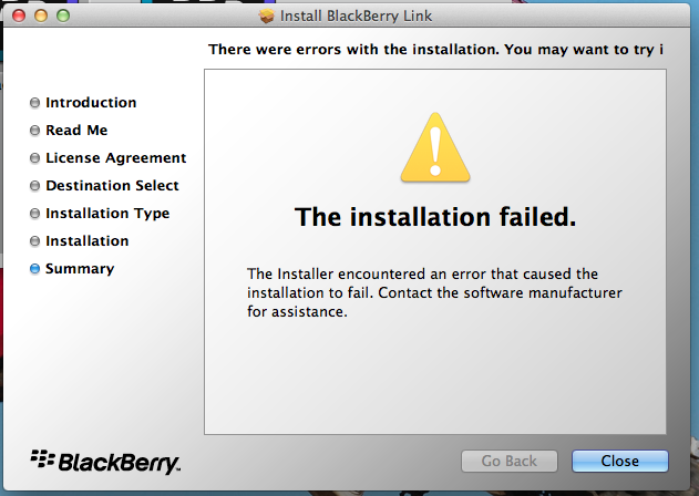 Macbook Pro Blackberry Link Installation Fail - BlackBerry Forums at