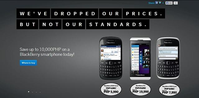 """We've dropped our prices, not our standards."" -BlackBerry PH-prices.jpg"