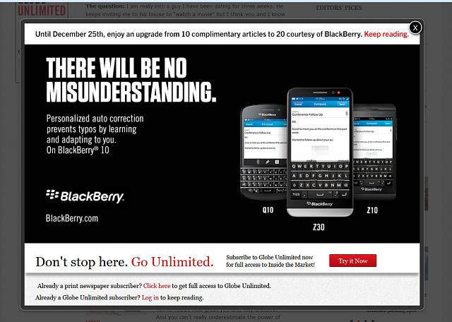 BlackBerry advertising on the news site the Globe and Mail - Does it really work?-blackberry-globe.png