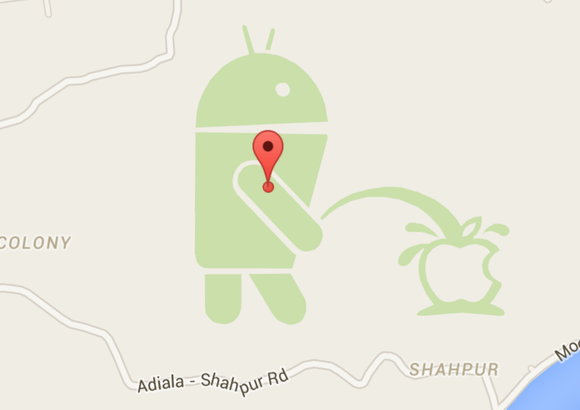 Yep, that's the Android mascot peeing on Apple in Google Maps-google-maps-pee-android-100581276-large.png