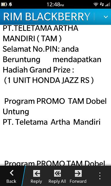 PIN message from Blackberry Indonesia, Think I JUST WON A CAR-img_20130825.jpg