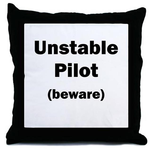 An kompitishun for hall the hedifikated memerers sea eh?-unstable_pilot_beware_throw_pillow.jpg