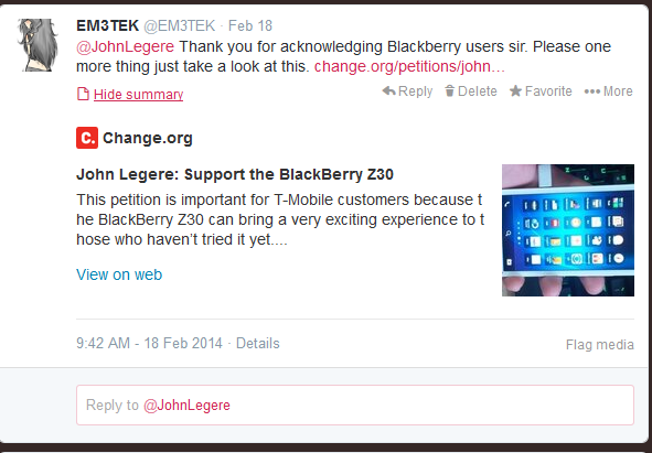 Email Tmobile Ceo and tell him how you feel about BlackBerry